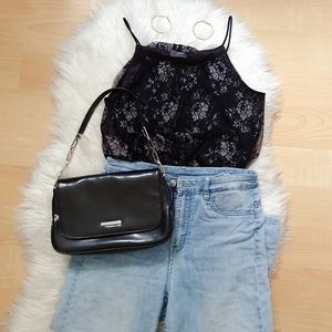 Layered lacey black cropped tank top